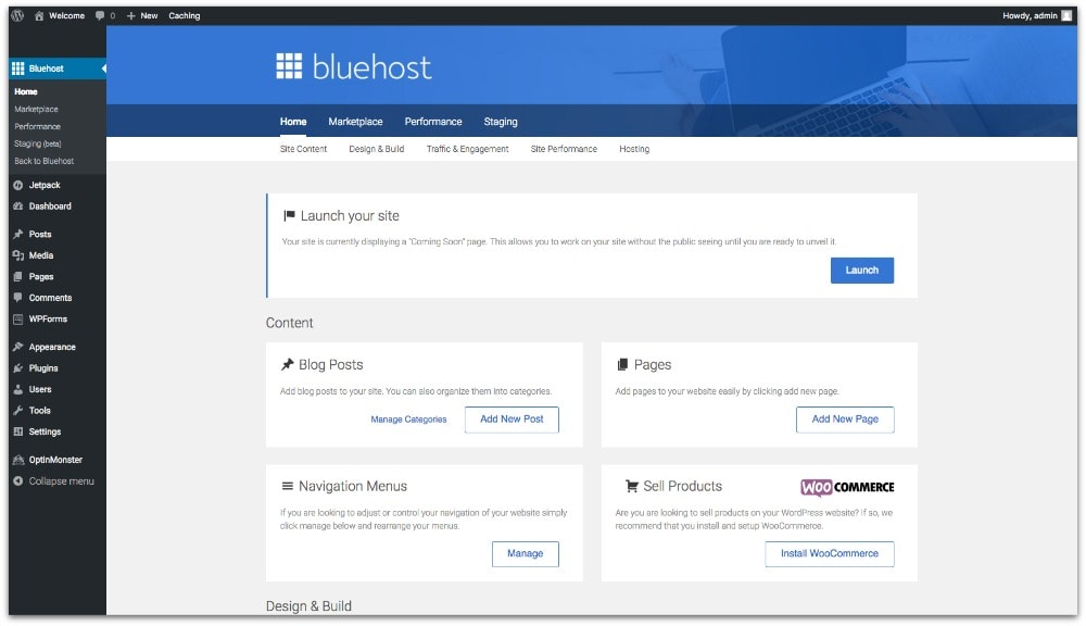 Image of Bluehost dashboard showing how to install a new theme for an actor website