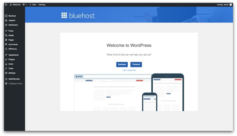Image of Bluehost hosting dashboard